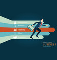businessman running to direction arrow vector image vector image