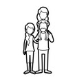 caricature thick contour faceless family with vector image vector image