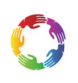 colorful hands together teamwork charity vector image vector image