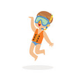 cute happy boy wearing orange life jacket snorkel vector image vector image