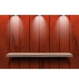 Empty shelf on red wooden wall vector image vector image