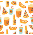 fast food seamless pattern snacks drinks vector image