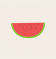 flat fresh slice water melon on grid background vector image vector image