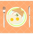 Fried eggs with toasts for breakfast vector image
