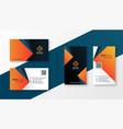 geometric modern business card design in orange vector image vector image