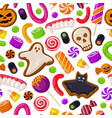 halloween seamless background holiday sweets vector image