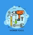 hand and power tools and machines - screwdriver vector image