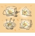 hand drawn sketch set cheese vector image vector image