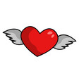 heart with wings red holiday romantic decoration vector image
