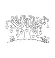 hearts on the tree vector image vector image