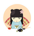 japanese geisha character in kimono clothing and vector image vector image