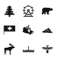 landmarks of canada icon set simple style vector image vector image