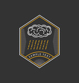 Line Art Logo Template with Cloud and Rain Thin vector image