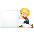Little boy pushing blank sign vector image vector image