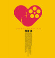 love cinema conceptual art with heart shape and fi vector image vector image