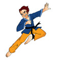 man doing a flying kick vector image