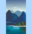 mountain landscape with fir trees and river vector image vector image