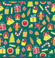 new year seamless pattern on the green background vector image vector image