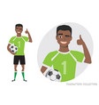 positive black african american soccer player vector image vector image