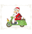 Santa Claus on a Scooter Cartoon vector image