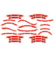 set of red silk ribbons on white background vector image