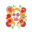 skull day of dead concept traditional mexican vector image vector image