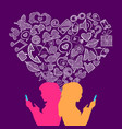 social media lesbian love internet icons concept vector image vector image
