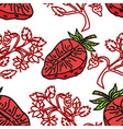 strawberry fruit pattern seamless template vector image vector image