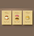sweet collection of cherry cheese cake donut and vector image vector image