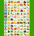 table of vitamins - set of food icons organized vector image