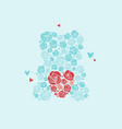 teddy bear of roses bear holds heart vector image