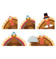 thanksgiving turkey bird collection - 4 vector image vector image