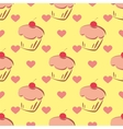 Tile pattern with cupcake and hearts on yellow vector image vector image