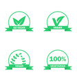 vegetarian logos set green food symbols vector image vector image