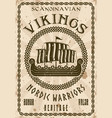 vikings sailship or drakkar vintage poster vector image vector image
