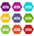 white house usa icon set color hexahedron vector image vector image