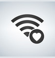 wifi connection signal icon with heart or vector image vector image
