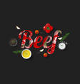 word beef design with fresh raw beef and spices vector image