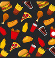fast food pizza hot dog soda sauce seamless vector image