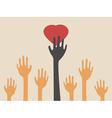 hands catching heart vector image