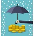 Hand holding umbrella under rain vector image
