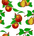 seamless wallpaper with peaches and pears vector image
