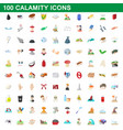 100 calamity icons set cartoon style vector image vector image