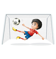 A boy playing soccer wearing a red uniform vector image vector image