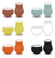 aroma tea cup pair sets of different cly types vector image vector image