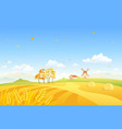 autumn fields and windmill vector image