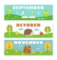 autumn months calendar flashcards set nature vector image