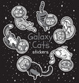 badge with cats astronauts stickers kit vector image vector image