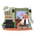 barber shop interior professional barber shaving vector image