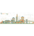 baton rouge louisiana city skyline with color vector image